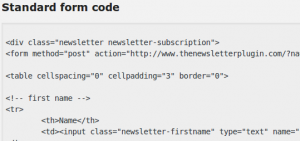 Newsletter form code