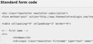 Newsletter form code